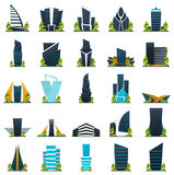 Set of Flat style Modern city houses. Building of future. Architecture of the future. Stock Photo