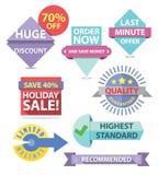 Set of flat style promo labels Royalty Free Stock Image