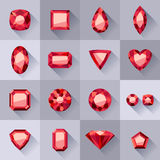 Set of flat style red jewels. Royalty Free Stock Image