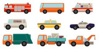Set of flat style service cars Stock Photo