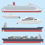 Set of flat style ships Royalty Free Stock Photo