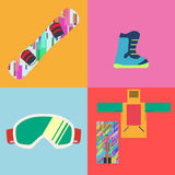 Set of Flat Style Snowboard Icons Vector Stock Image