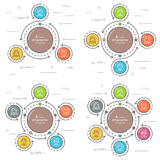 Set of flat style 3-6 steps circle infographic template. Royalty Free Stock Photography