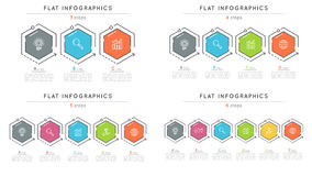 Set of flat style 3-6 steps timeline infographic templates. Stock Photos