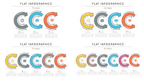 Set of flat style 3-6 steps timeline infographic templates Royalty Free Stock Photos