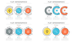 Set of flat style 3 steps timeline infographic templates. Royalty Free Stock Images