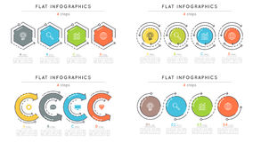 Set of flat style 4 steps timeline infographic templates. Royalty Free Stock Photography