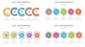 Set of flat style 5 steps timeline infographic templates. Royalty Free Stock Image