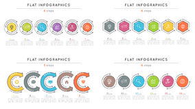Set of flat style 6 steps timeline infographic templates. Stock Photo