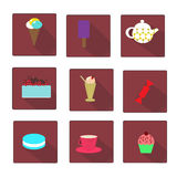 Set of flat style sweet icons Stock Photos