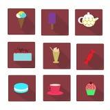 Set of flat style sweet icons Stock Photos