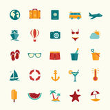 Set of flat style travel icons Royalty Free Stock Images