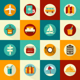 Set of flat style travel icons Royalty Free Stock Photography