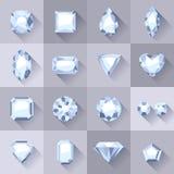 Set of flat style white jewels. Stock Photo