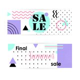 Set of flat summer banners for sale, shopping discounts and greeting cards. Memphis design. Simple design for flyers, cards, posters, vouchers and other Royalty Free Stock Photos