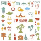 Set of flat summer elements. Royalty Free Stock Image