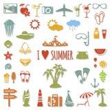 Set of flat summer elements. Royalty Free Stock Image