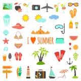 Set of flat summer elements Stock Photography