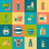 Set of flat summer icons Stock Photography