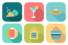 Set of flat summer icons Stock Photo