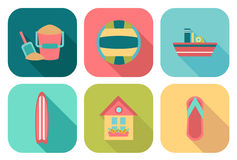 Set of flat summer icons Royalty Free Stock Photo