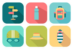 Set of flat summer icons Stock Images
