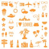 Set of flat summer icons. Stock Image