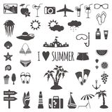 Set of flat summer icons. Stock Photo