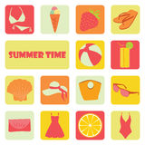 Set of flat summer individual icons on a theme of rest. Set of flat summer icons on individual backgrounds of different colors Royalty Free Stock Photography