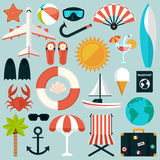 Set of flat summer rest icons. Traveling, tourism Stock Photography