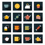 Set of flat tea time icons Royalty Free Stock Photography