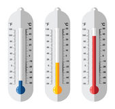 Set of flat thermometer icons, vector  Stock Image