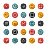 Set of flat thin icons. Style lines. Vector collection. Set of thin icons. Style lines. Vector collection for the user interface, web sites, mobile applications Royalty Free Stock Photos