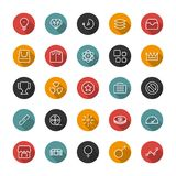 Set of flat thin icons. Style lines. Vector collection. Set of thin icons. Style lines. Vector collection for the user interface, web sites, mobile applications Royalty Free Stock Image