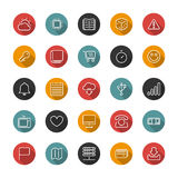 Set of flat thin icons. Style lines. Vector collection. Set of thin icons. Style lines. Vector collection for the user interface, web sites, mobile applications Royalty Free Stock Photo