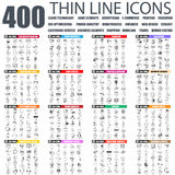 Set of flat thin line business web icons stock illustration