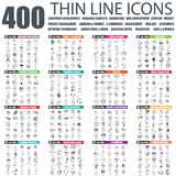 Set of flat thin line business web icons. Set of thin line icons for corporate development, project management, network tehnology, banking, business office, web Stock Photography