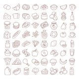 Set of flat thin line food icons. Vector elements. Set of flat thin line food icons. Vector hand drawn elements royalty free illustration