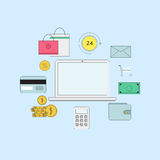 Set of flat thin line icons. E-commerce or payment online illustration Royalty Free Stock Photos