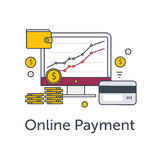 Set of flat thin line icons. E-commerce or payment online illustration. Monitor with graph, coins, wallet and credit. Card Stock Image