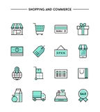 Set of flat thin line icons on subject of shopping and commerce Stock Photo