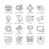 A set of flat thin line icons on white background for successful blogging business. It includes: newsletter, social, seo, content Royalty Free Stock Photography