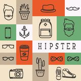 Set of flat  thinline icons of hipster silhouette Stock Photos