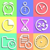 Set of flat Time icons Royalty Free Stock Photos