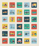Set of flat transport icons Royalty Free Stock Photography