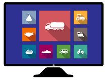 Set of flat transport icons on monitor Stock Photo