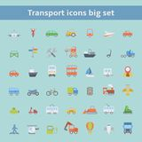Set of flat transportation vehicles icons Stock Photography