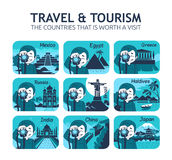 Set of flat travel icons with different countries. Stock Photo
