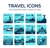 Set of flat travel icons with different countries. Set of travel icons with different countries of the world. Travel and tourism Stock Images