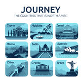Set of flat travel icons with different countries. Royalty Free Stock Photography